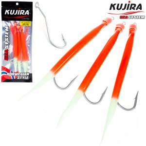 Снасточка морская Kujira Gummi Makk 8/0 Lumo+Red (3 шт)